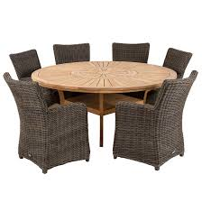New York 6-Seater Wicker Chairs & Teak Dining Table Set (Set Of 7)
