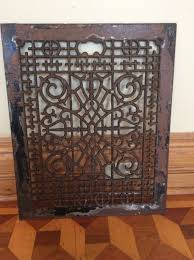 vintage large cast iron scrolly victorian cold air return floor