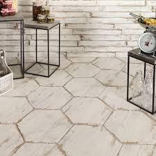 Home Depot Floor Tiles Porcelain by Merola Tile Retro Hex Blanc 14 1 8 In X 16 1 4 In Porcelain