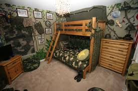 Wooden Level Beds With Tent Using Army Themed Boy Bedroom Ideas Also Green Leaf Wall Decor