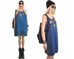 Wildflower Patch Grunge Dress Vintage 90s Denim Blue Jean Mini