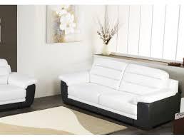 canape blanc noir canapé 3 places simili cuir cardiff bicolore blanc et noir