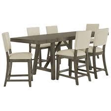 Omaha Gray Wood High Table 4 Upholstered Barstools