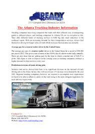 100 Regional Truck Driving Jobs The Atlanta Ing Industry Information