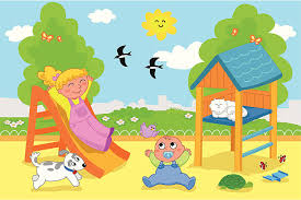 Cute Kids At The Playground Vector Art Illustration