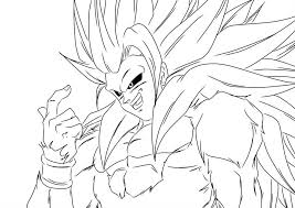 Dragon Ball Z Goku Super Saiyan Four Challenging Enemy Coloring Picture For Kids