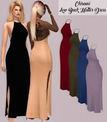 chisami low back halter dress sims 4 clothes females