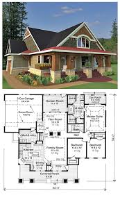 House Plan is a craftsman style design with 3 bedrooms 2