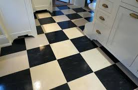 Black And White Linoleum Tile Floor Covering Residential Installation Tiles
