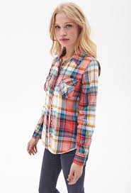 forever 21 classic woven plaid shirt lyst