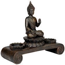 svita buddha figur deko statue meditation inkl zwei teelichthaltern buddhismus
