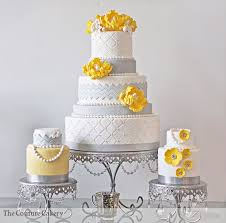 Wedding Cakes Pretty Bouquets Yellow and white roses look great with greenish grey craspedia