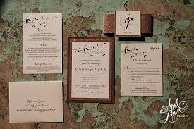 April Lynn Designs Erin Rich Rose Gold Foil Wood Rustic Wedding Invitation Glitter Lovebirds John James Audubon Center 7140