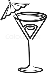 Cocktail glass with umbrella clipart Stock Vector