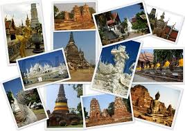 Travelling Around Thailand In Collage With 12 Shots On White Background