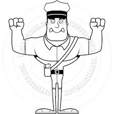 Cartoon Mail Carrier Angry Black &amp White Line Art By Cory