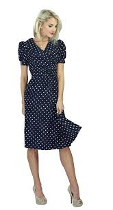 modest dresses in navy polka dot