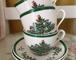 Spode Christmas Tree Mugs With Spoons by Spode Christmas Tree Etsy