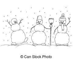 Hand Drawn Happy Snowmans Vector Cartoon Illustration