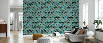 cube hexagon pattern green
