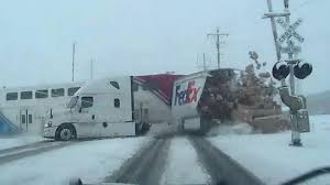 100 Fedex Truck Watch Train Smash Into FedEx Truck Miraculously Missing The Driver