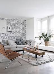 wohnzimmer tapete marrakescher aztec teppich schwarz und weiß 148677