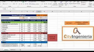 Análisis de Costo Unitario en Excel Concreto f´c u003d 140kgcm2 YouTube