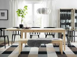 Natural Wooden Ikea Stockholm Dining Table With Bench And Squared Floor Plus Cabinet