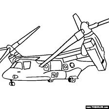 Osprey Tilt Rotor Military Transport Helicopter Propeller Plane Coloring Page