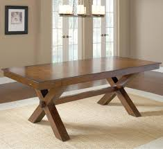 DIY Vintage Solid Wood Trestle Dining Table For Rustic Room Design On Cream Carpet Tiles Ideas