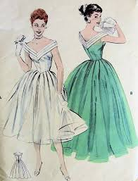 Lovely Evening Formal Gown Pattern Butterick 7182 Figure Flattering V Neckline Full Dancing Skirt Classic Fifties Gala Party Dress Bust 32 Vintage