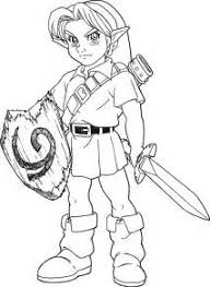 Young Link Colouring Pages Sketch Template