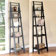 Rustic Ladder Bookcase Blue Grey Two Tone Black 5 Tier Open Wood Corner Shelf Throughout