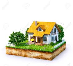 100 House Earth White On A Piece Of With Garden And Trees Stock Photo