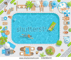 Sunny Patio With Pool View From Above People Sunbathe And Swim