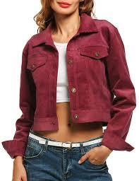 com zeagoo women s turn down collar corduroy jacket with chest