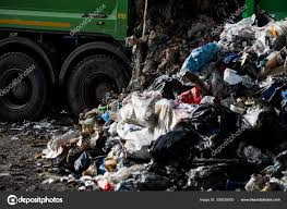 100 Junk Truck Tipping Garbage Container Yard Stock Photo