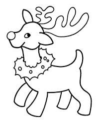 Simple Santas Coloring Pages Printable Reindeer