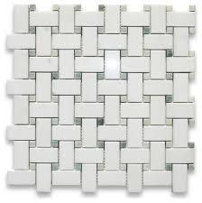12 x12 thassos white basketweave mosaic green dots polished