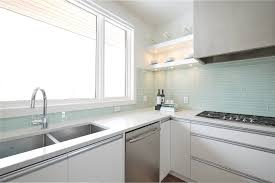 toronto grey glass tile backsplash kitchen transitional with white
