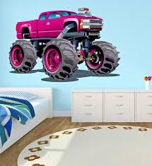 100 Monster Truck Bedroom Wall Decal Kids Art Playroom Decor Sticker