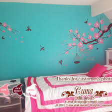 tree wall decal birds nature forest vinyl from cuma on etsy