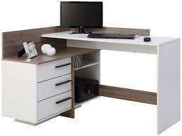 bureau blanc et bureau d angle thales coloris blanc et chêne foncé vente de bureau