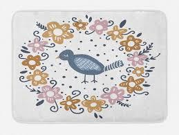badematte plüsch badezimmer dekor matte mit rutschfester rückseite abakuhaus boho hippie frühlings punkte und ein vogel kaufen otto