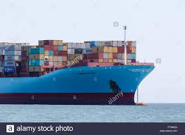 100 Shipping Containers San Francisco Front End Of Cargo Container Ship Moored In Bay Stock