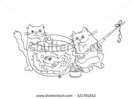 Coloring Page Outline Of Funny Cats Catching Goldfish From The Aquarium