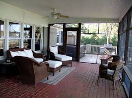 Top Modern Porch With French Doors Outdoor Kitchen Screened Exterior Brick Floors Floor