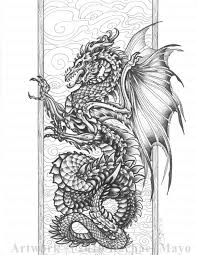 Harmony Of Bone And Air By Rachael Mayo Dragon Fantasy Myth Mythical Mystical Legend Dragons Wings Coloring SheetsAdult