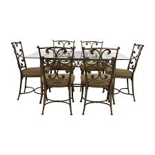 90% OFF - Glass And Gold Wrought Iron Dining Set / Tables