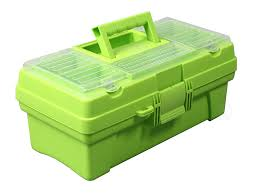 Amazon.com: Multi-compartment Plastic Toolbox With Tray, Green: Home ...
